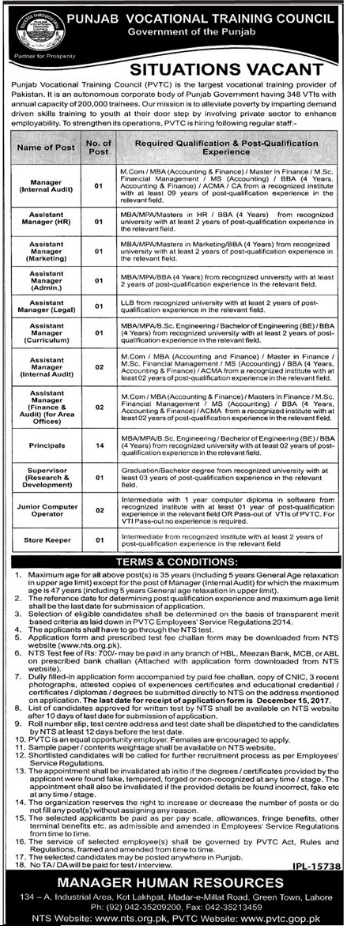 PVTC Manager, Assistant Manager & Supervisor Jobs NTS