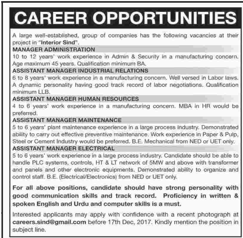 Manager & Assistant Manager Jobs in Interior Sindh