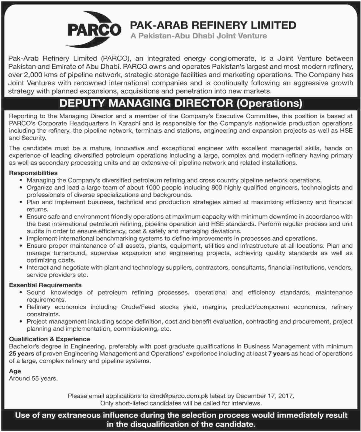 PARCO Pakistan Deputy Managing Director Jobs 2017