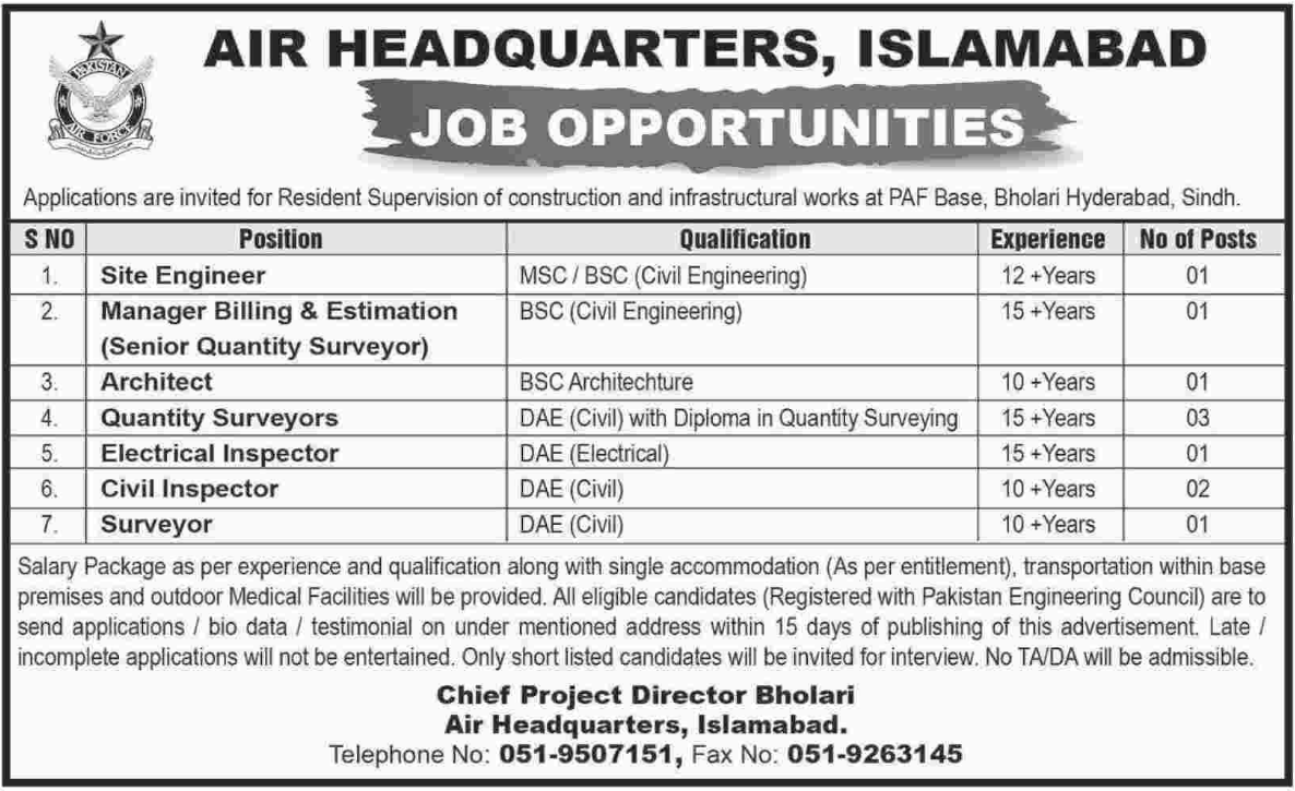PAF Air Headquarters Islamabad wanted Engineer & Surveyor