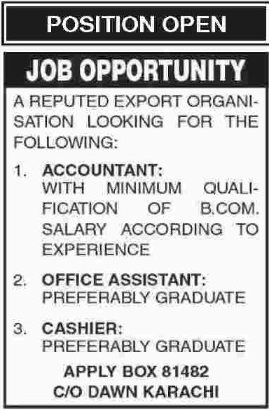 Accountant, Office Assistant & Cashier Jobs in Karachi 2019
