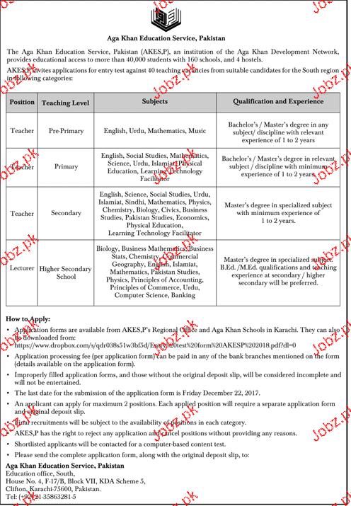 Aga Khan Education Service Pakistan Jobs