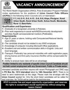 Union Council Polio Officer Jobs in WHO Organization 2017