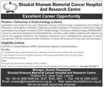 Fellowship in Endocrinology for Shaukat Khanum Hospital