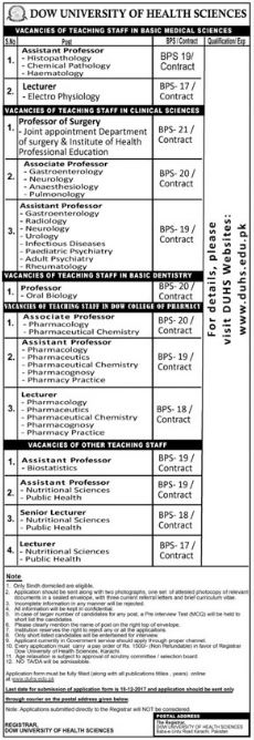 Professor, Assistant Professor Jobs in DUHS University