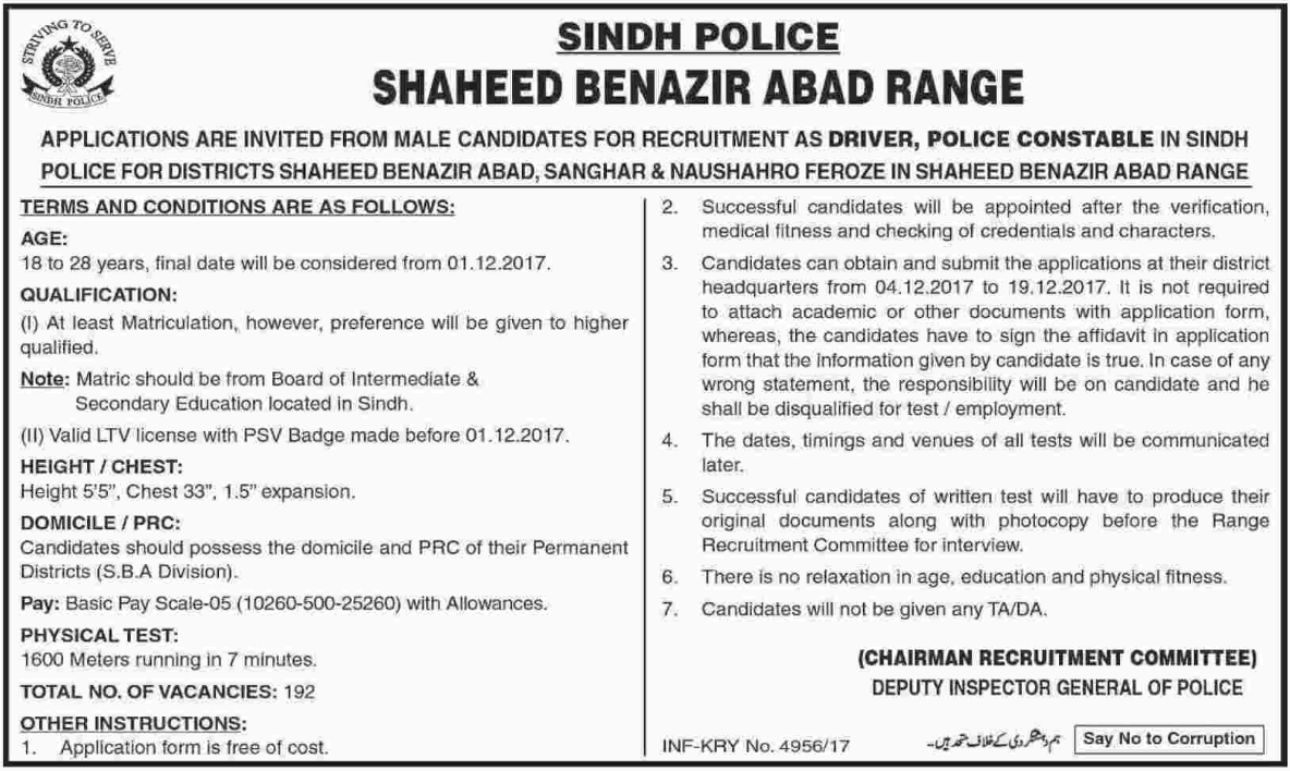 Sindh Police required Driver as Police Constable
