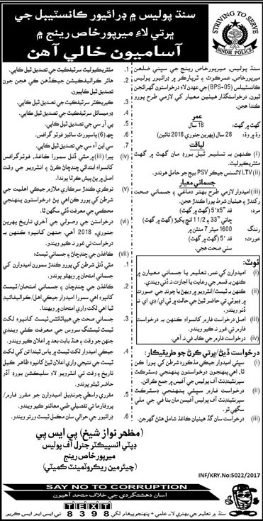 Police Constable Jobs in Sindh Police 2017