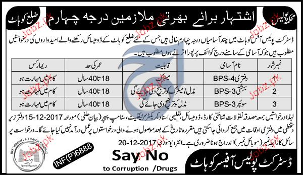 District Police Office Kohat Jobs