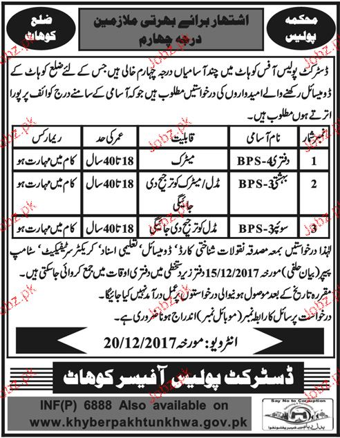 District Police Office Kohat Jobs 2017