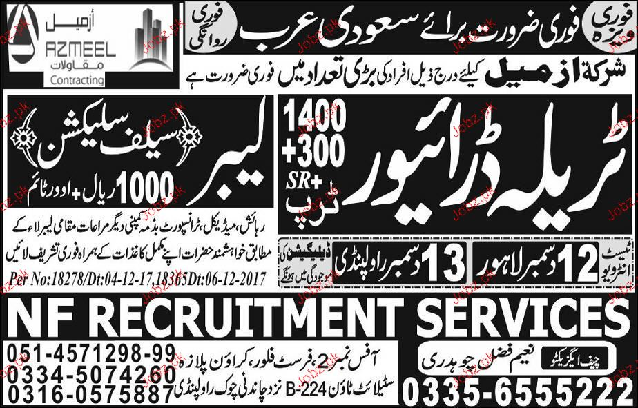 Labors and Tralla Drivers Job Opportunity