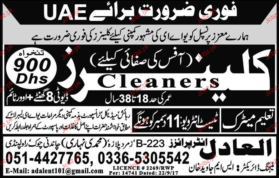 Cleaners Job Opportunity