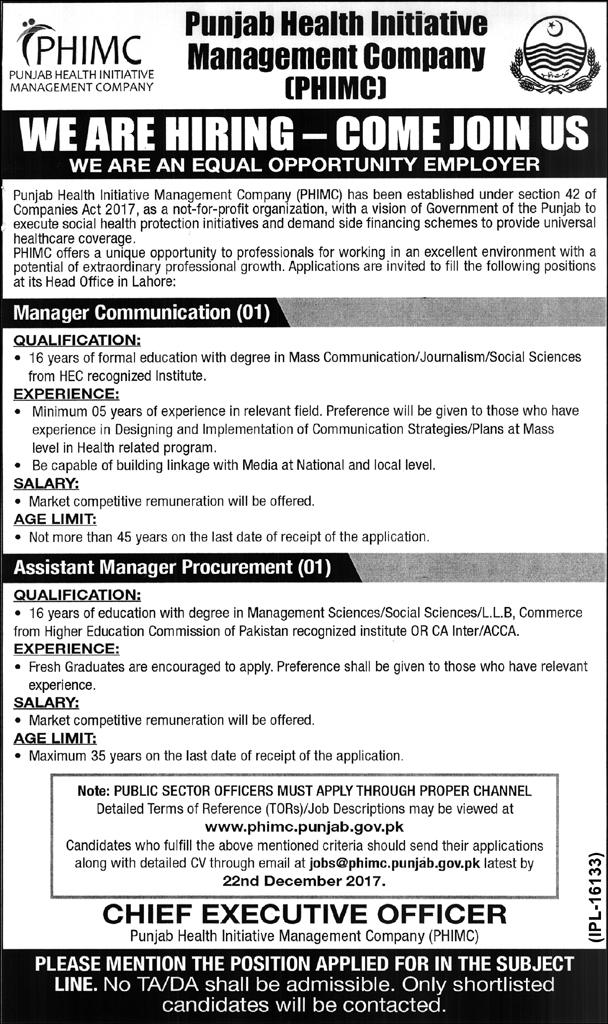 Punjab Health Initiative Managment Company PHIMC Jobs 2017