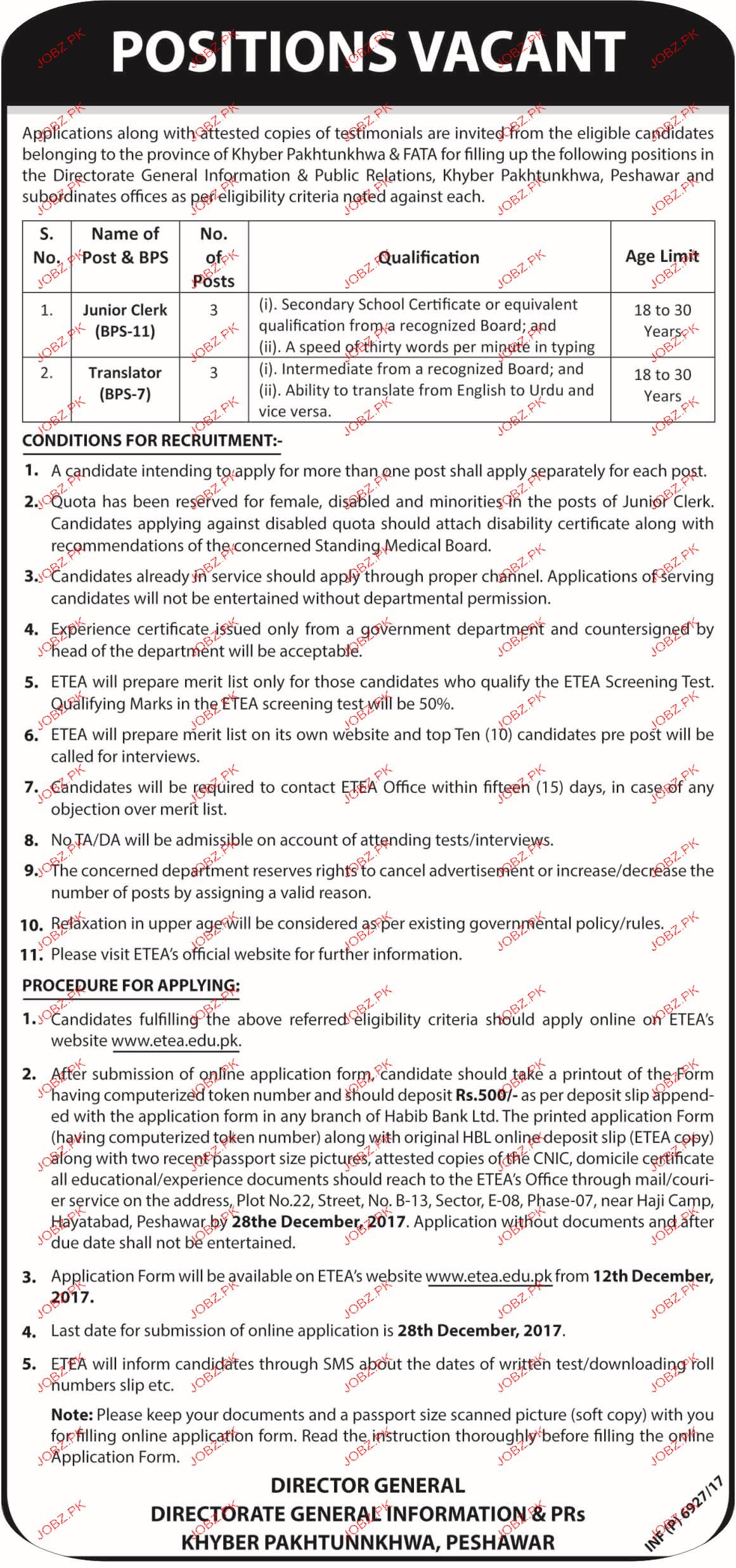 Directorate of General Information and PRs Jobs