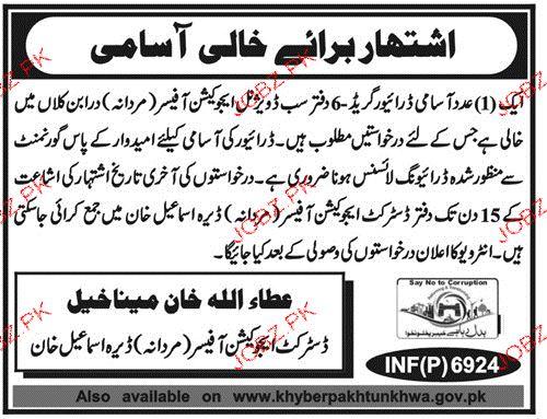 District Education Office Male Dear Ismile Khan Jobs