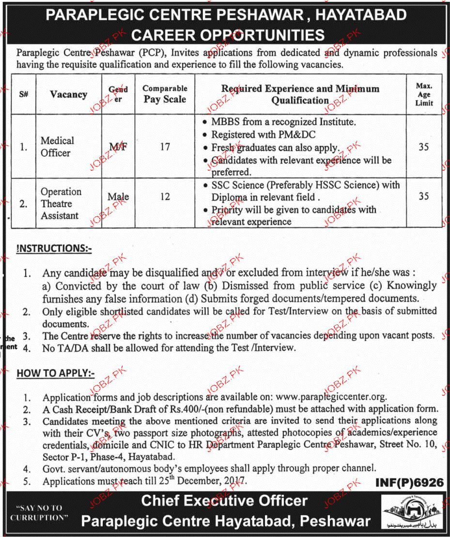 Paraplegic Centre Peshawar PCP Jobs
