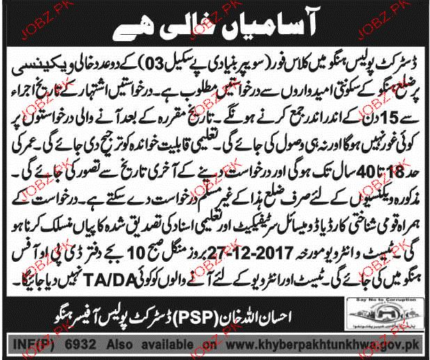 Recruitment of Class Four in District Police Hangu