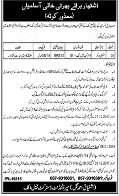Labor Jobs Opportunity in District Jail Attock