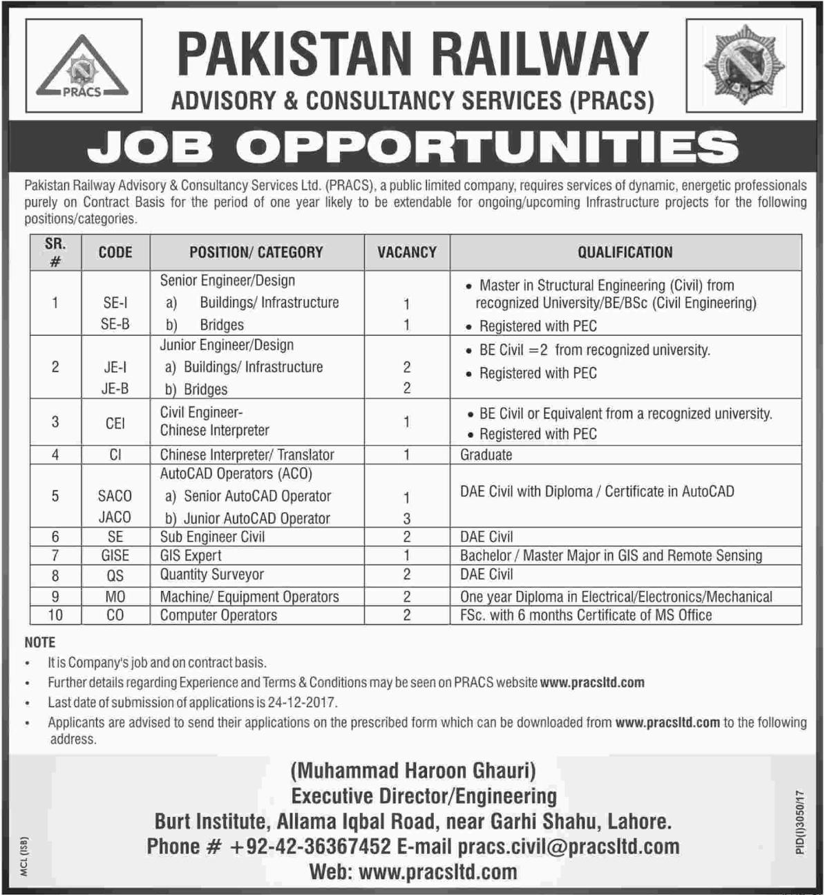 PRACS Railway Jobs Engineer, Civil Engineer & Translator