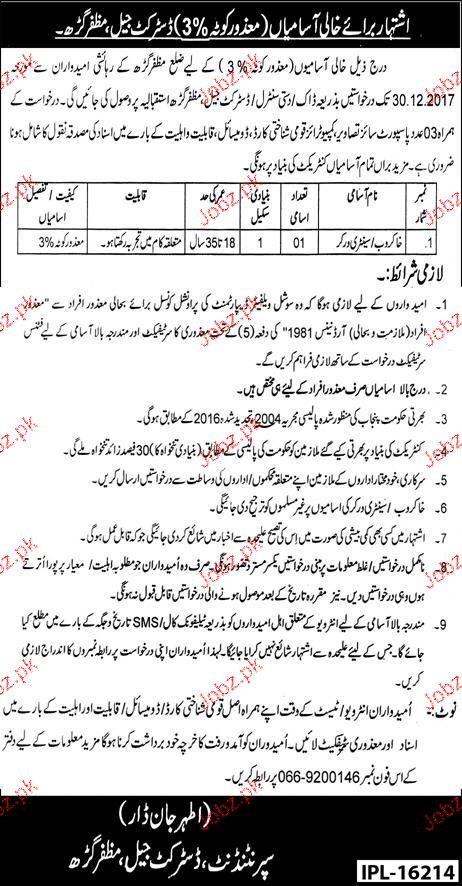 District Jail Muzafargrah  Jobs