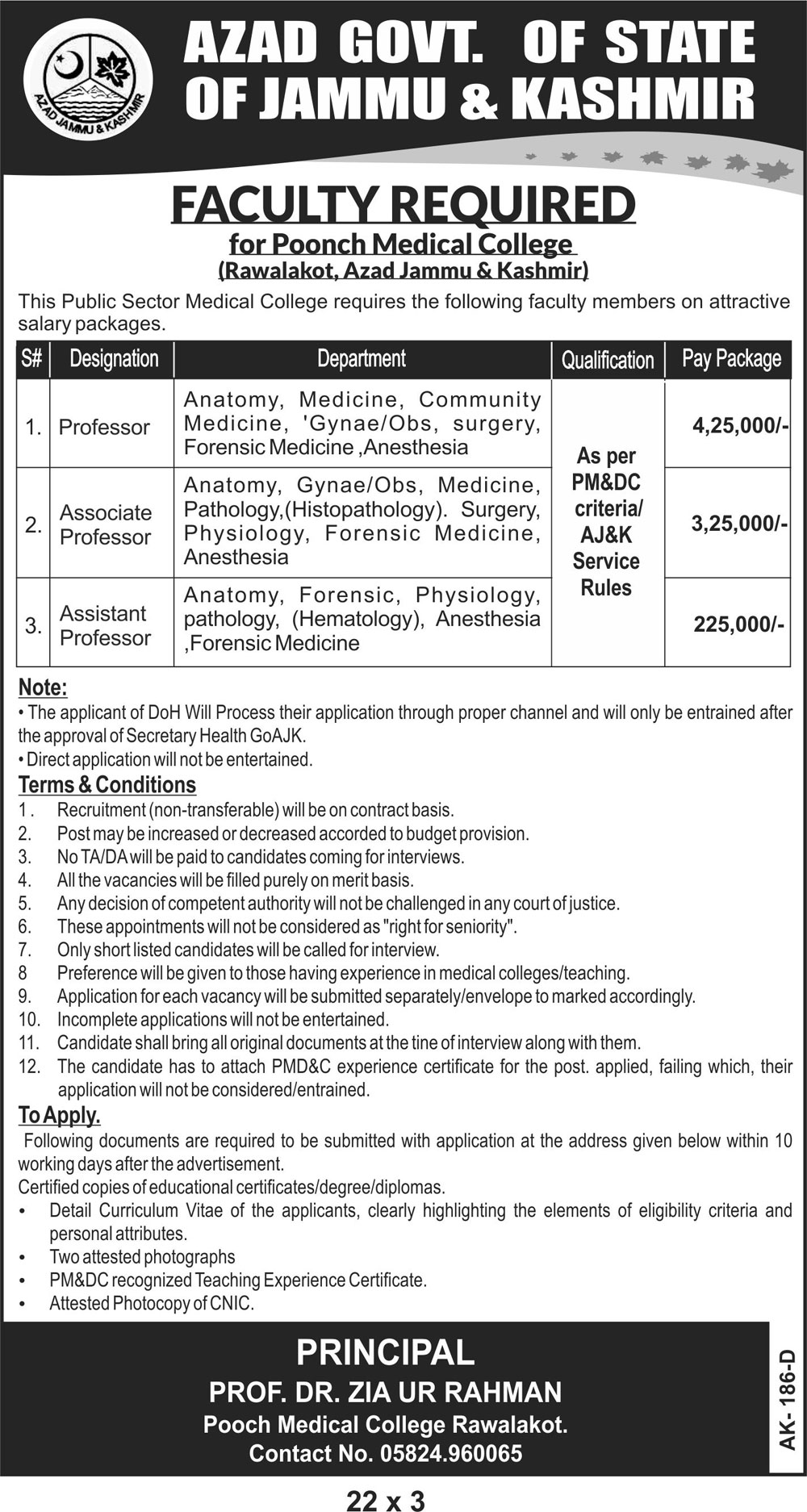 Professor Assistant Professor Jobs Poonch Medical College 2018