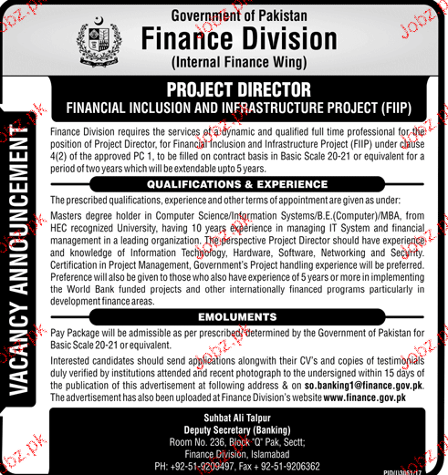 Finance Division  Government of Pakistan  Jobs