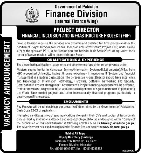 Project Director appointment in Finance Division