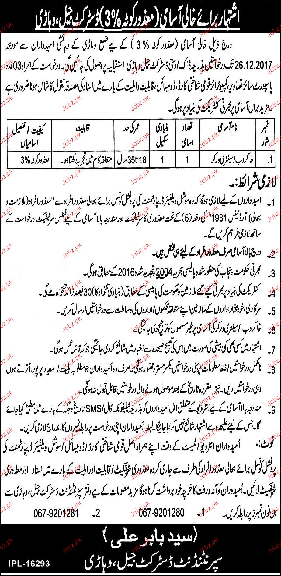 District Jail Vehari Jobs