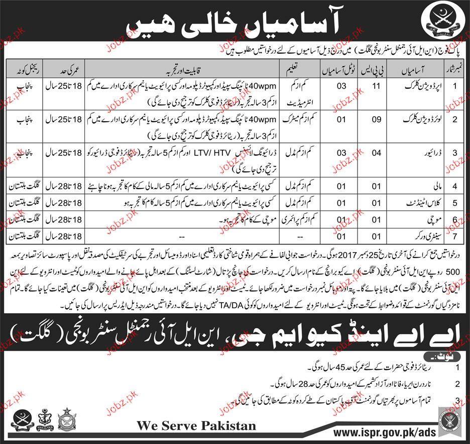 Pakistan Army NLI Regment Center Gilgit Jobs