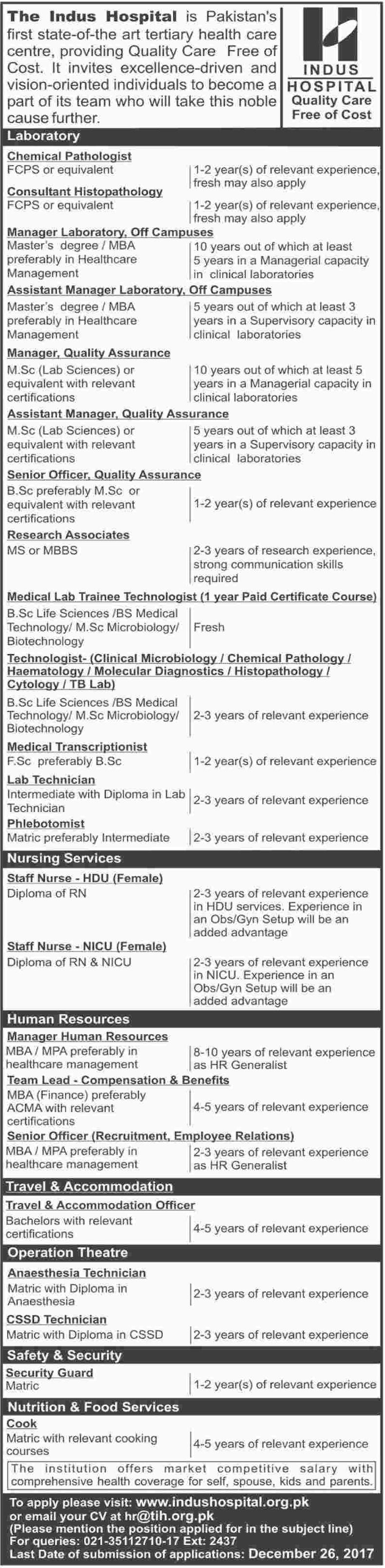 Laboratory Staff, Nursing Staff, HR Staff & OT Staff Jobs