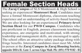 Female Section Head Required SLS Montessori & School