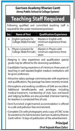 Teaching Staff Required In Kharian Cantt