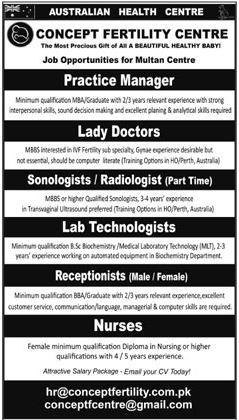 Manager, Doctors, Receptionists, Nurses Jobs 2017