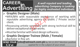 Male Graphic Designers Job Opportunity