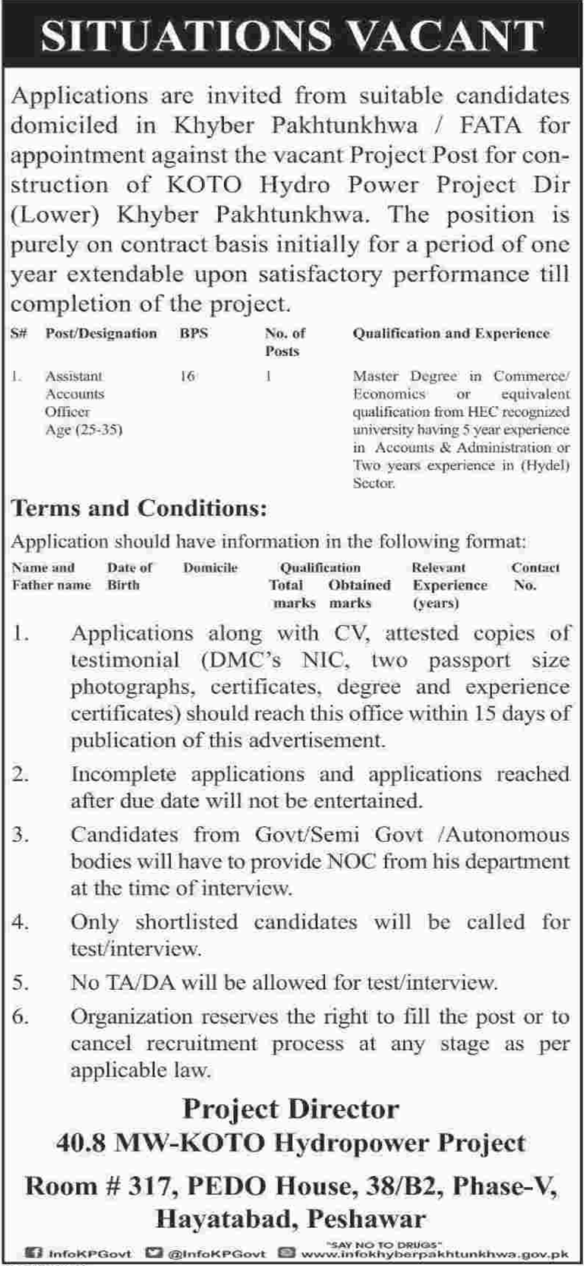 Assistant Accounts Officer Jobs KOTO Hydropower Project