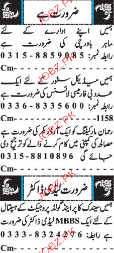 Cook, Marketing Staff, Order Bookers and Lady Doctors Wanted