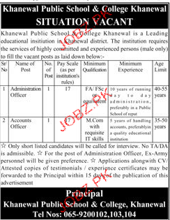 Khanwal Public School and College Job