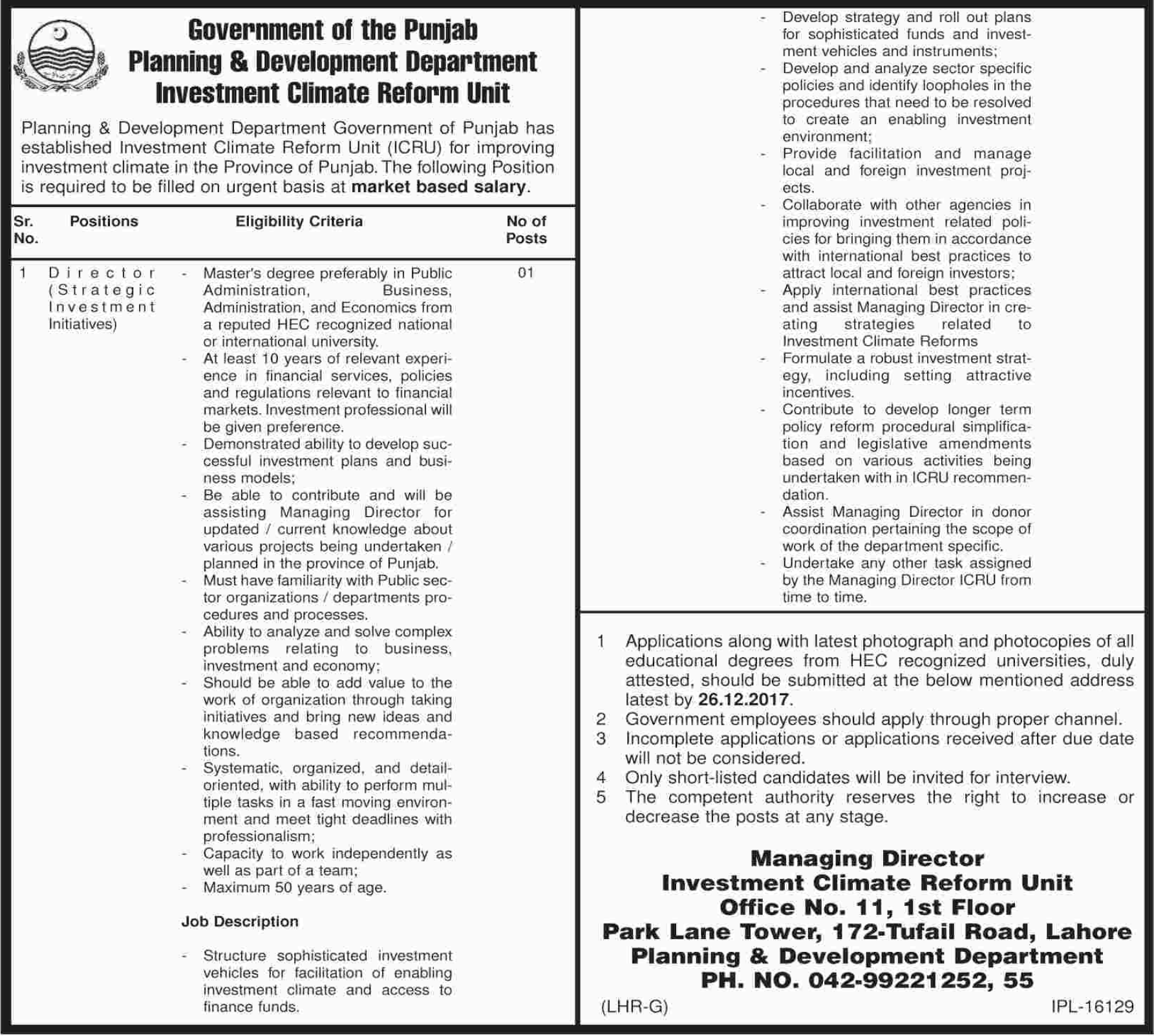 ICRU Punjab Investment Climate Reform Unit required Director