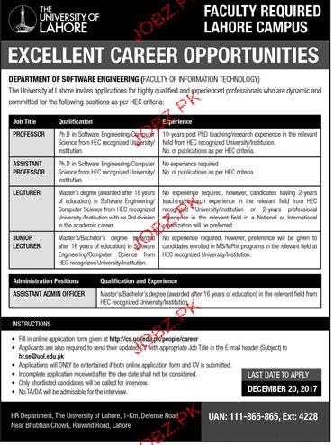 The University of Lahore  Teaching Jobs