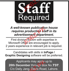 Production Staff Job Opportunity