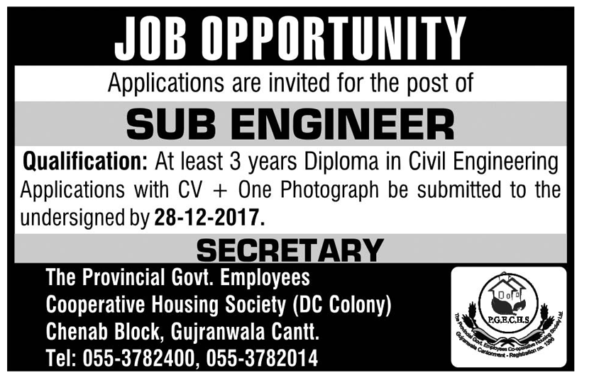 Sub Engineer Jobs in Cooperative Housing Society