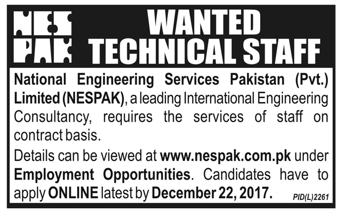 NESPAK wanted Technical Staff