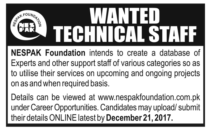 Technical Staff Jobs in NESPAK Foundation