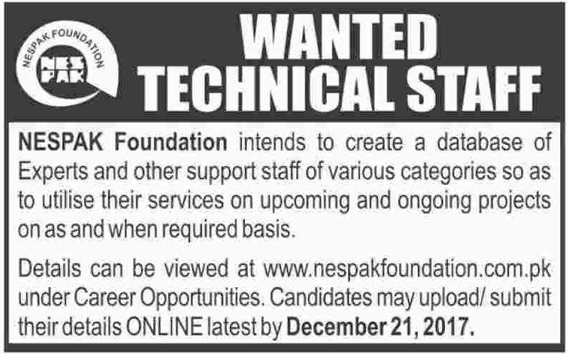 NESPAK Foundation Jobs 2017