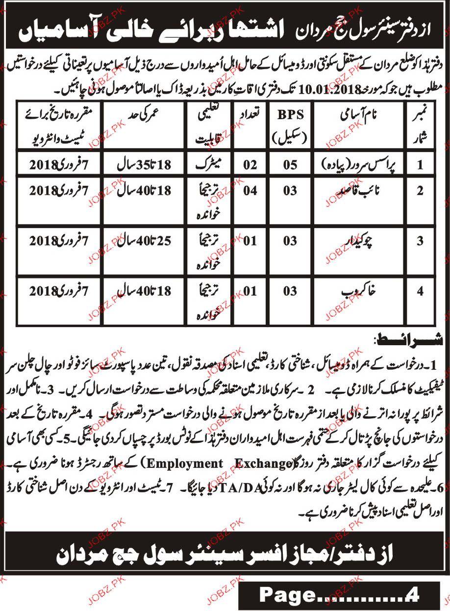 Process Servers, Naib Qasid, Chawkidars Job Opportunity
