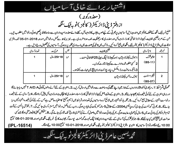 Junior Clerk & Lecture Assistant Jobs at Toba Tek Singh 2018