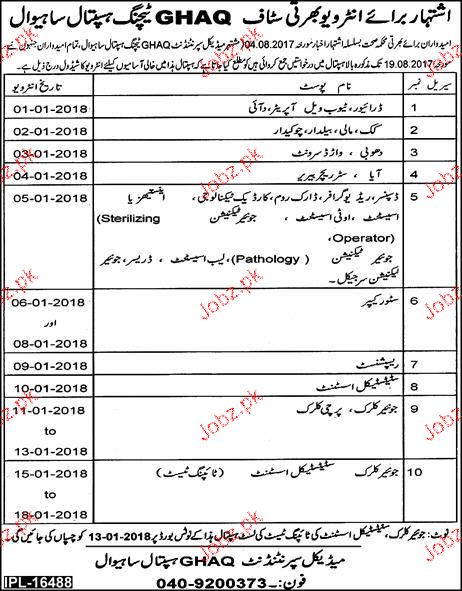 GHAQ Teaching Hospital Health Department  Jobs