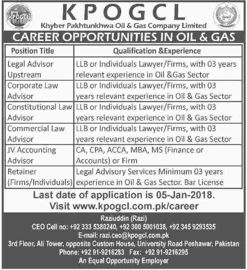 KPOGCL Company Legal Advisor & Accounting Advisor Jobs 2018