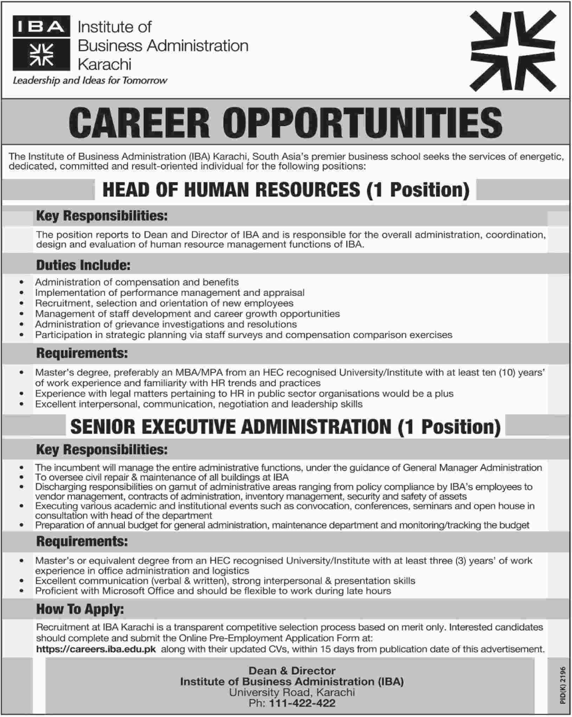 IBA Jobs for Management & Administration Department