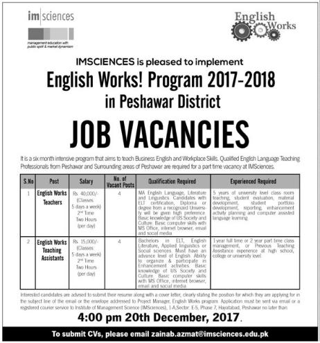IMS Peshawar Teaching Jobs