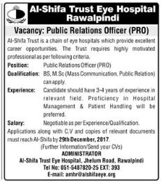 Public Relation Officer Jobs in Al Shifa Trust Eye Hospital